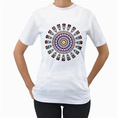 Circle Star Rainbow Color Blue Gold Prismatic Mandala Line Art Women s T Shirt (white)  by Alisyart