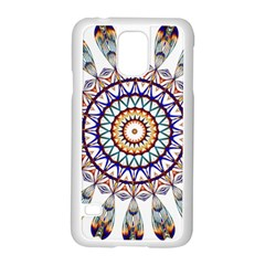 Circle Star Rainbow Color Blue Gold Prismatic Mandala Line Art Samsung Galaxy S5 Case (white)