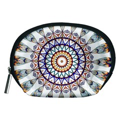 Circle Star Rainbow Color Blue Gold Prismatic Mandala Line Art Accessory Pouches (medium)
