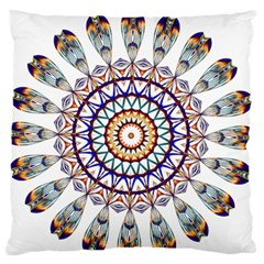 Circle Star Rainbow Color Blue Gold Prismatic Mandala Line Art Standard Flano Cushion Case (one Side) by Alisyart