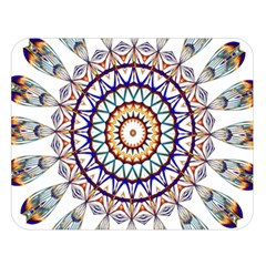 Circle Star Rainbow Color Blue Gold Prismatic Mandala Line Art Double Sided Flano Blanket (large)