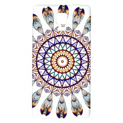 Circle Star Rainbow Color Blue Gold Prismatic Mandala Line Art Galaxy Note 4 Back Case by Alisyart