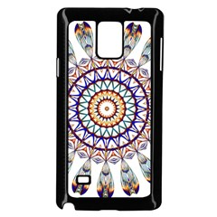 Circle Star Rainbow Color Blue Gold Prismatic Mandala Line Art Samsung Galaxy Note 4 Case (black)