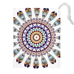 Circle Star Rainbow Color Blue Gold Prismatic Mandala Line Art Drawstring Pouches (xxl)