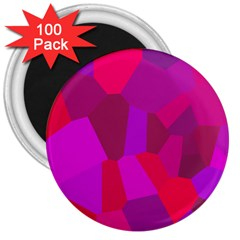 Voronoi Pink Purple 3  Magnets (100 Pack) by Alisyart