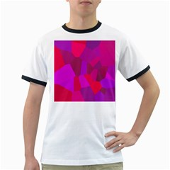 Voronoi Pink Purple Ringer T Shirts by Alisyart