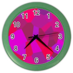 Voronoi Pink Purple Color Wall Clocks by Alisyart