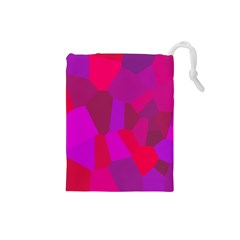 Voronoi Pink Purple Drawstring Pouches (small)  by Alisyart