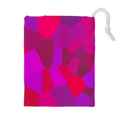 Voronoi Pink Purple Drawstring Pouches (extra Large)