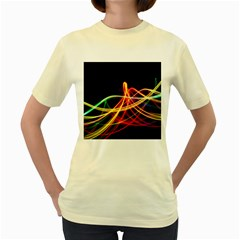 Vortex Rainbow Twisting Light Blurs Green Orange Green Pink Purple Women s Yellow T Shirt by Alisyart