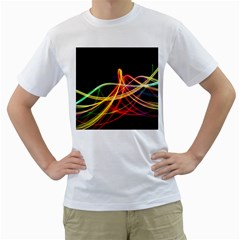 Vortex Rainbow Twisting Light Blurs Green Orange Green Pink Purple Men s T Shirt (white) (two Sided) by Alisyart