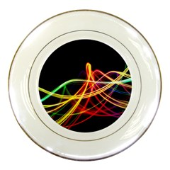 Vortex Rainbow Twisting Light Blurs Green Orange Green Pink Purple Porcelain Plates by Alisyart