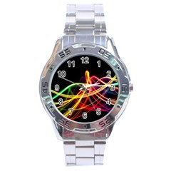 Vortex Rainbow Twisting Light Blurs Green Orange Green Pink Purple Stainless Steel Analogue Watch by Alisyart