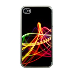 Vortex Rainbow Twisting Light Blurs Green Orange Green Pink Purple Apple Iphone 4 Case (clear) by Alisyart