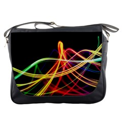 Vortex Rainbow Twisting Light Blurs Green Orange Green Pink Purple Messenger Bags by Alisyart