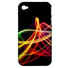 Vortex Rainbow Twisting Light Blurs Green Orange Green Pink Purple Apple Iphone 4/4s Hardshell Case (pc+silicone) by Alisyart