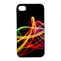 Vortex Rainbow Twisting Light Blurs Green Orange Green Pink Purple Apple Iphone 4/4s Hardshell Case With Stand by Alisyart