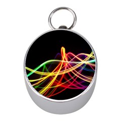 Vortex Rainbow Twisting Light Blurs Green Orange Green Pink Purple Mini Silver Compasses by Alisyart