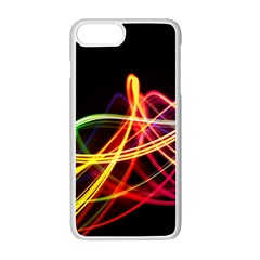 Vortex Rainbow Twisting Light Blurs Green Orange Green Pink Purple Apple Iphone 7 Plus White Seamless Case