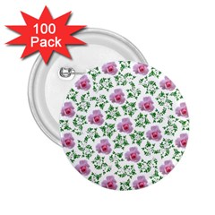 Rose Flower Pink Leaf Green 2 25  Buttons (100 Pack)  by Alisyart