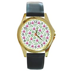 Rose Flower Pink Leaf Green Round Gold Metal Watch by Alisyart