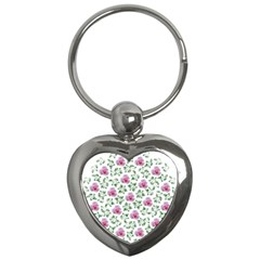 Rose Flower Pink Leaf Green Key Chains (heart)  by Alisyart