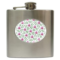 Rose Flower Pink Leaf Green Hip Flask (6 Oz) by Alisyart