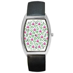Rose Flower Pink Leaf Green Barrel Style Metal Watch by Alisyart