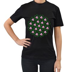 Rose Flower Pink Leaf Green Women s T Shirt (black) (two Sided)