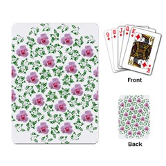 Rose Flower Pink Leaf Green Playing Card by Alisyart