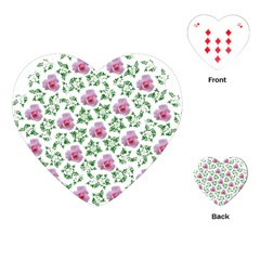 Rose Flower Pink Leaf Green Playing Cards (heart)  by Alisyart