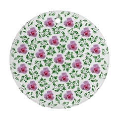 Rose Flower Pink Leaf Green Round Ornament (two Sides)