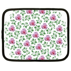 Rose Flower Pink Leaf Green Netbook Case (large) by Alisyart