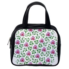 Rose Flower Pink Leaf Green Classic Handbags (one Side)