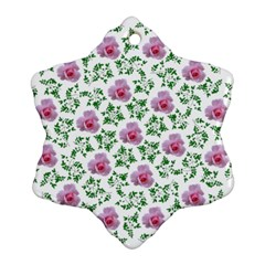 Rose Flower Pink Leaf Green Snowflake Ornament (two Sides)