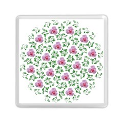 Rose Flower Pink Leaf Green Memory Card Reader (square)
