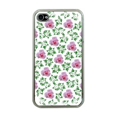 Rose Flower Pink Leaf Green Apple Iphone 4 Case (clear) by Alisyart