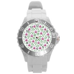 Rose Flower Pink Leaf Green Round Plastic Sport Watch (l) by Alisyart