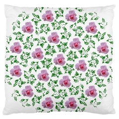 Rose Flower Pink Leaf Green Large Cushion Case (one Side) by Alisyart
