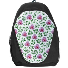 Rose Flower Pink Leaf Green Backpack Bag by Alisyart