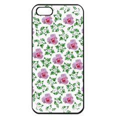 Rose Flower Pink Leaf Green Apple Iphone 5 Seamless Case (black)