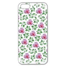 Rose Flower Pink Leaf Green Apple Seamless Iphone 5 Case (clear)