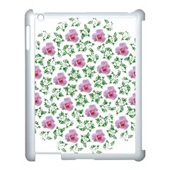 Rose Flower Pink Leaf Green Apple Ipad 3/4 Case (white) by Alisyart