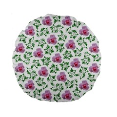 Rose Flower Pink Leaf Green Standard 15  Premium Round Cushions by Alisyart