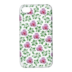 Rose Flower Pink Leaf Green Apple Iphone 4/4s Hardshell Case With Stand by Alisyart