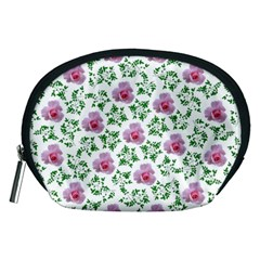 Rose Flower Pink Leaf Green Accessory Pouches (medium)
