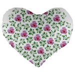Rose Flower Pink Leaf Green Large 19  Premium Flano Heart Shape Cushions Front