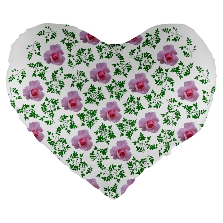 Rose Flower Pink Leaf Green Large 19  Premium Flano Heart Shape Cushions