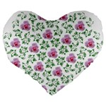 Rose Flower Pink Leaf Green Large 19  Premium Flano Heart Shape Cushions Back