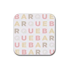 Alphabeth Rainbow Color Rubber Square Coaster (4 Pack)